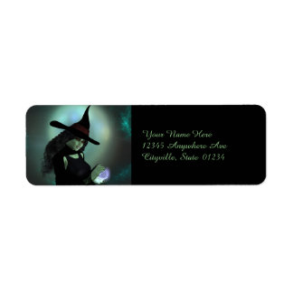 Wicked Witch Casting a Spell Label