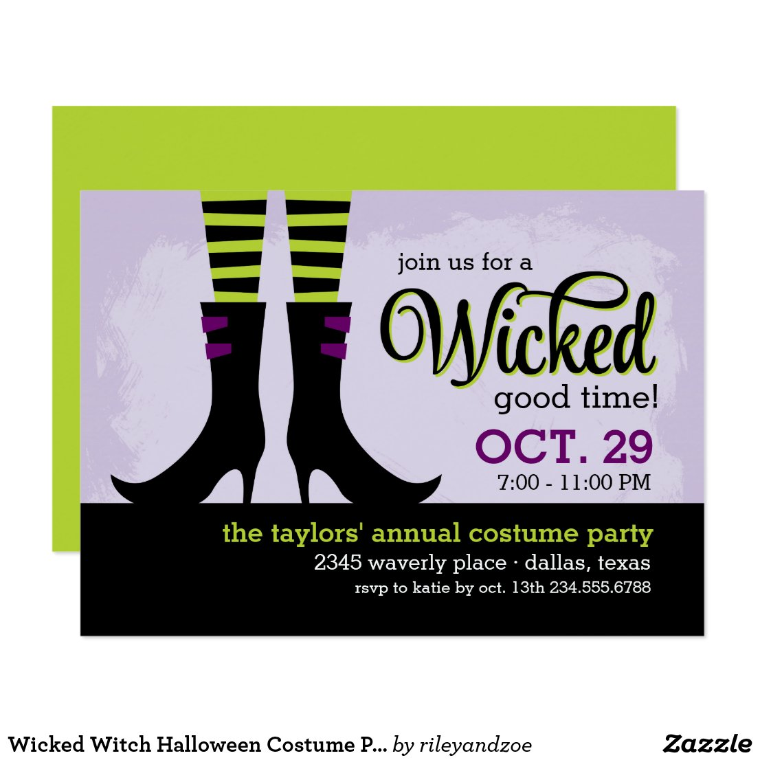 Wicked Witch Halloween Costume Party Invitation