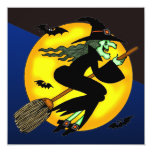 """Wicked Witch Halloween Party Invitation 5.25"""" Square Invitation Card"""