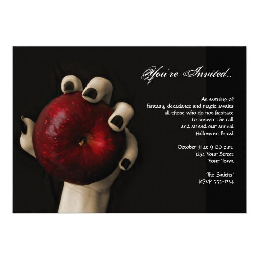 Wicked Witch Red Apple Halloween Party Invitations