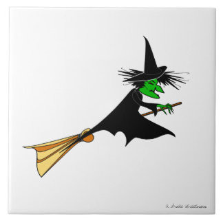 Wicked Witch Rides Broom Tile