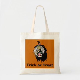 Wicked Witch with Apple Trick or Treat Tote Bag