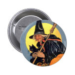 WICKED WITCH WITH HER BLACK CAT PINBACK BUTTONS