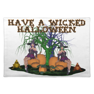 Wicked Witches Halloween Cloth Placemat