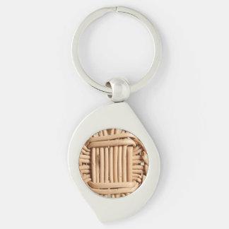 Wicker basket closeup keychain