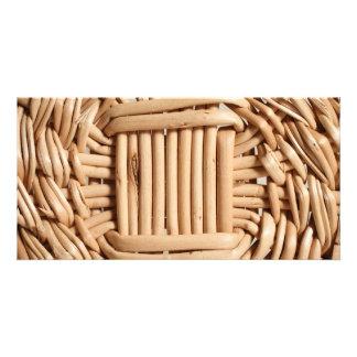 Wicker basket closeup photo card
