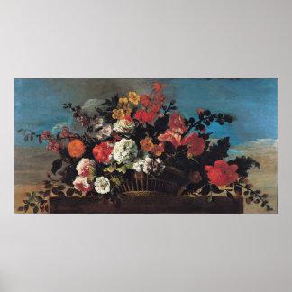 Wicker Basket of Flowers Poster
