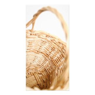 Wicker basket on white background card