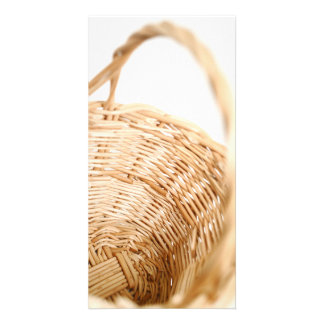 Wicker basket on white background photo card