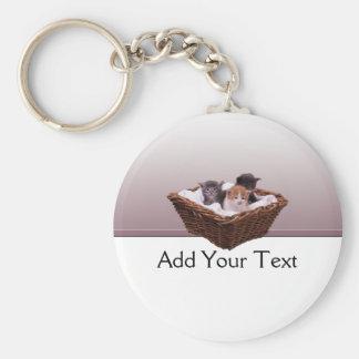 Wicker Basket with Kittens Key Chain