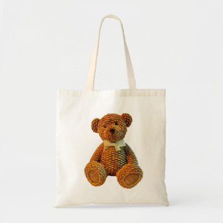 Wicker Brown Teddy Bear Tote Bag