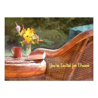 Wicker Chair Coffee Brunch Invites