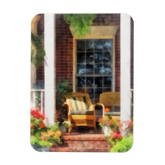 Wicker Chair With Striped Pillow Rectangular Photo Magnet