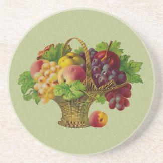 Wicker Fruit Basket Vinage Art Coaster