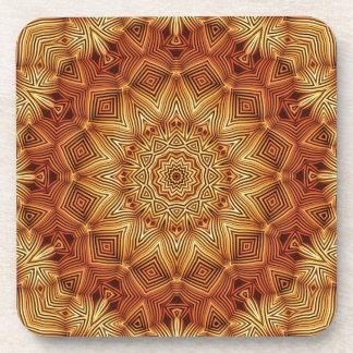 Wicker Mandala Pattern Beverage Coasters