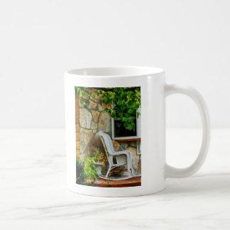 Wicker Rocking Chair on Porch Coffee Mug