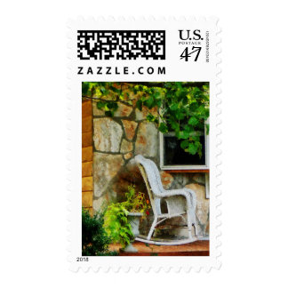 Wicker Rocking Chair on Porch Postage