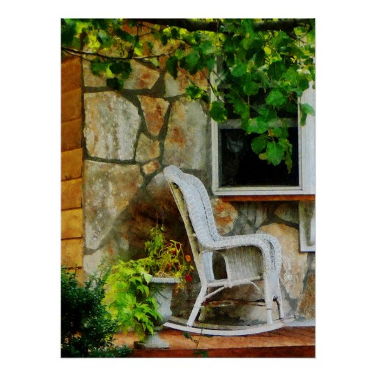 Wicker Rocking Chair on Porch Poster