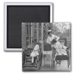 Wicker Wheelchairs, 1920s 2 Inch Square Magnet