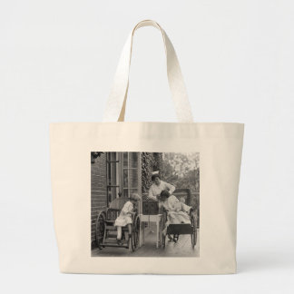 Wicker Wheelchairs, 1920s Large Tote Bag