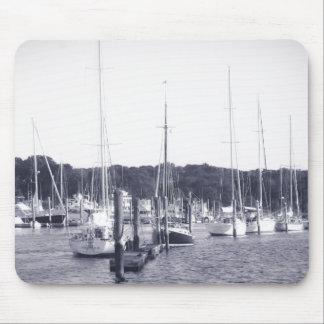 Wickford Harbor Rhode Island BW mousepad