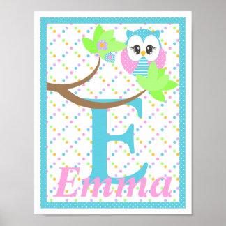 Widdle Owl Custom Letter-Name Print 2