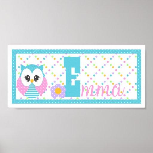 Widdle Owl Custom Letter-Name Print-TEMP Poster