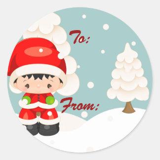 Widdle se pregunta al muchacho de Santa - etiqueta