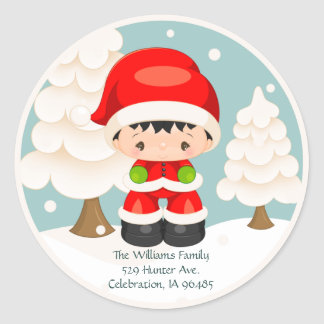 Widdle Wonders Santa Boy Round Address Label