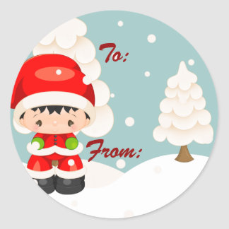 Widdle Wonders Santa Boy -Round Gift Tag Stickers