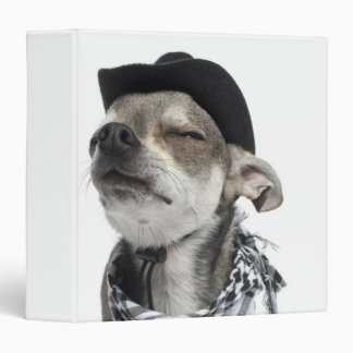 Wide-angle of a Chihuahua with his eyes closed 3 Ring Binder
