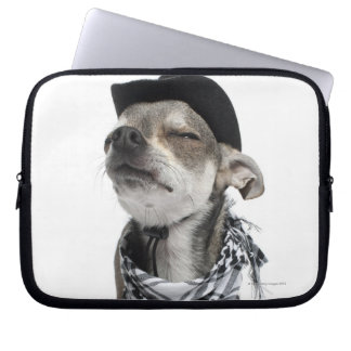 Wide-angle of a Chihuahua with his eyes closed Laptop Sleeve