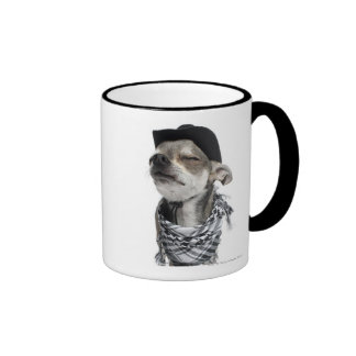 Wide-angle of a Chihuahua with his eyes closed Mugs