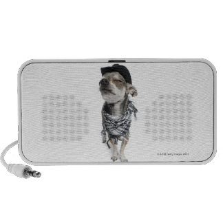 Wide-angle of a Chihuahua with his eyes closed Portable Speaker