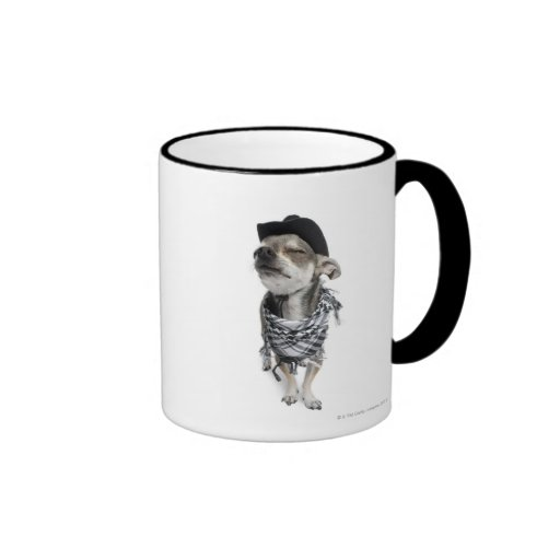 Wide-angle of a Chihuahua with his eyes closed Ringer Coffee Mug