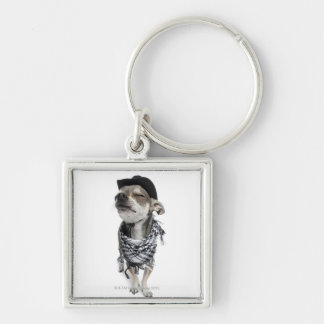 Wide-angle of a Chihuahua with his eyes closed Silver-Colored Square Keychain