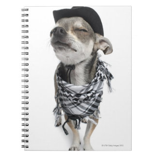 Wide-angle of a Chihuahua with his eyes closed Spiral Notebook