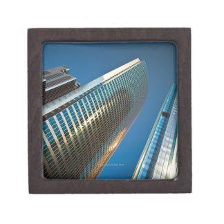 Wide-angle shot looking up at gleaming glass keepsake box