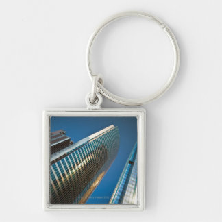 Wide-angle shot looking up at gleaming glass keychain