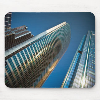 Wide-angle shot looking up at gleaming glass mouse pad