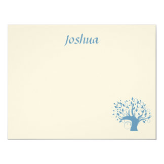 Wide Blue Tree of Life Thank You 4.25x5.5 Paper Invitation Card