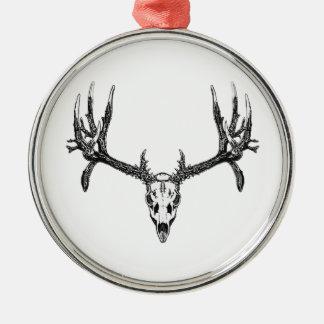 Wide buck skull metal ornament