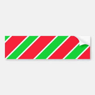 Wide Christmas Stripes Car Bumper Sticker