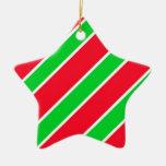 Wide Christmas Stripes Christmas Tree Ornament