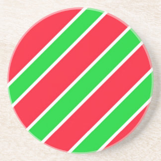 Wide Christmas Stripes Drink Coaster