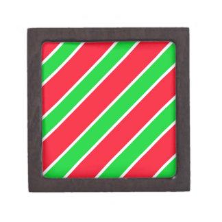 Wide Christmas Stripes Keepsake Box