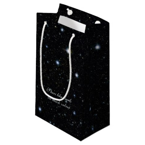 Wide, deep starfield like jewels on black velvet small gift bag