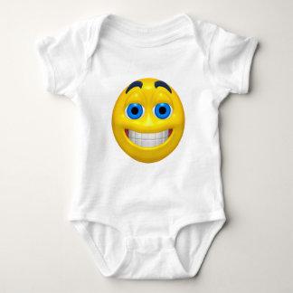 Wide eye yellow smiley baby bodysuit
