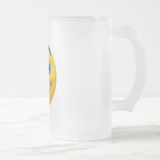 Wide eye yellow smiley frosted glass beer mug