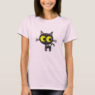 Wide eyed cat womens shirt design